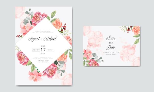 Romantic flower wedding invitation