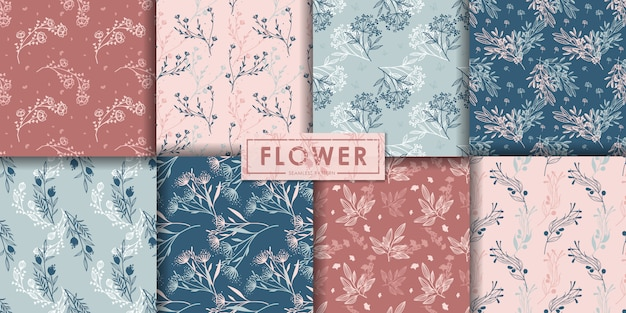 ロマンチックな花のシームレスなパターンセット、抽象的な背景、装飾的な壁紙。