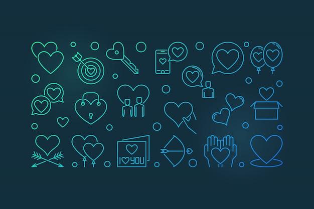 Romantic friendship concept colored outline illustration