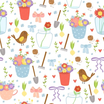 Romantic garden supplies seamless pattern