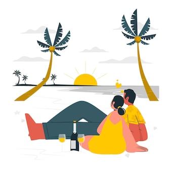 Illustrazione del concetto di fuga romantica