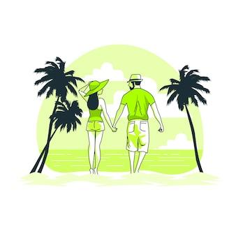 Romantic getaway concept illustration