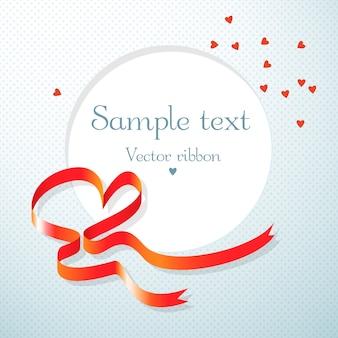 赤いハートリボンとハートフラットベクトルイラストと丸いテキストフィールドとロマンチックなギフトカード