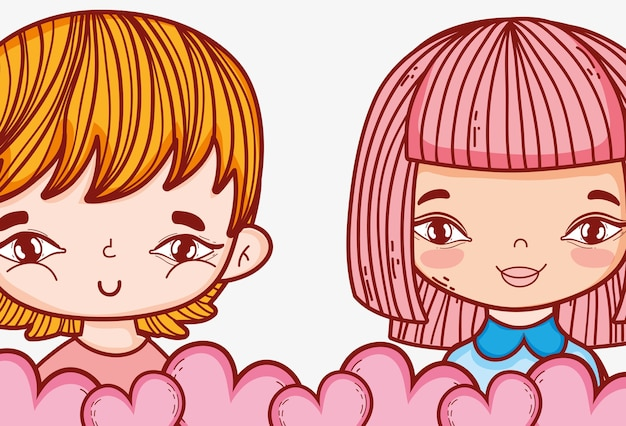Romantic girl and boy couple with hearts