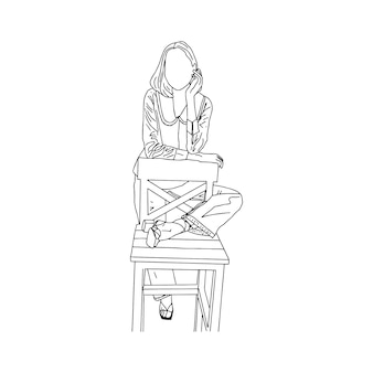 A romantic girl leaning on a chair drawn in a linear style. vector illustration.