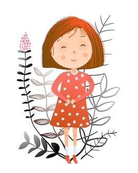 赤い髪の夏と花のロマンチックな女の子