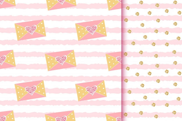 Romantic glittering golden seamless patterns with love messages in envelopes with sparkle hearts on pink striped