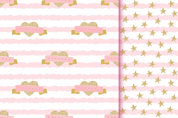 Romantic glittering seamless patterns with love sparkle golden hearts and ribbons on pink striped