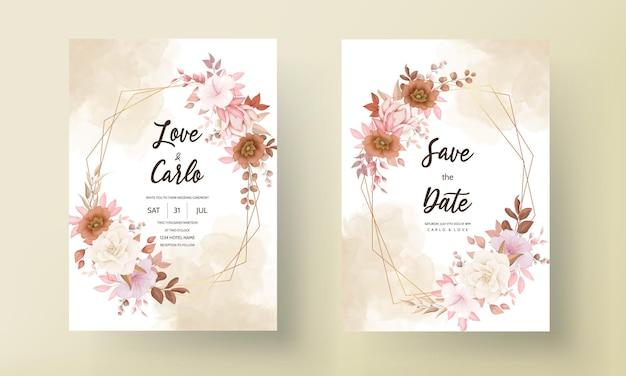 ロマンチックな手描きのエレガントな茶色の花の結婚式の招待カード