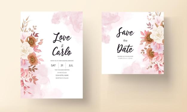 Романтическая рисованная элегантная коричневая цветочная свадебная пригласительная открытка