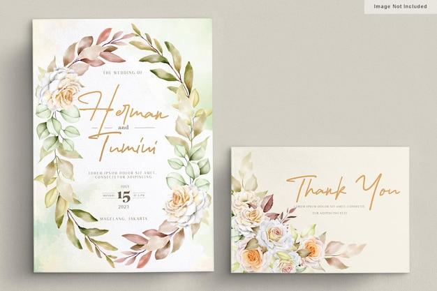 로맨틱 손으로 그린 꽃 웨딩 카드 세트