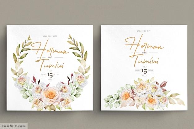 ロマンチックな手描きの花のウェディングカードセット