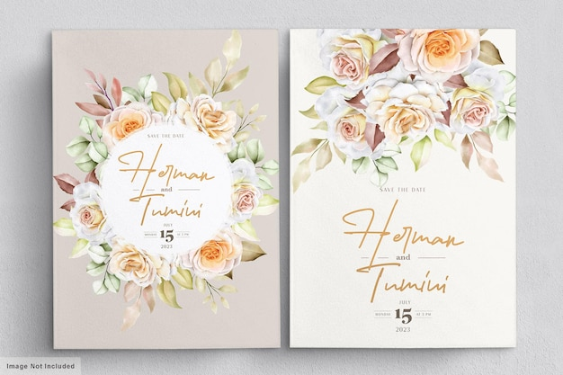 Romantic hand drawn floral wedding card set Premium Vector