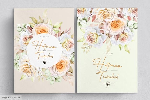 Романтическая рисованная цветочная свадебная открытка