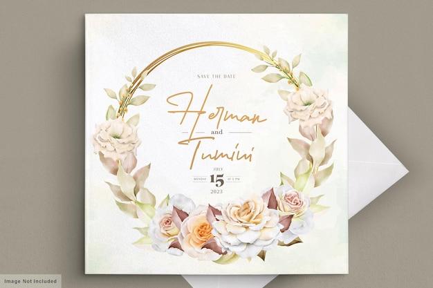 ロマンチックな手描きの花のウェディングカード
