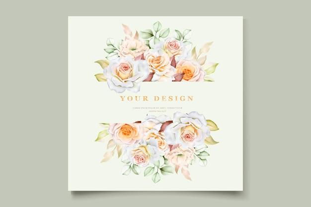 Romantic hand drawn floral wedding invitation card set