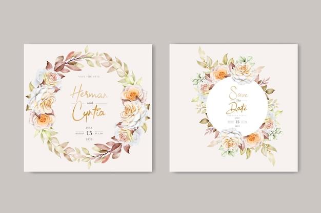 Романтический рисованной цветочные свадебные приглашения набор карт