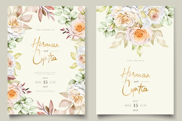 Romantic hand drawn floral wedding invitation card set