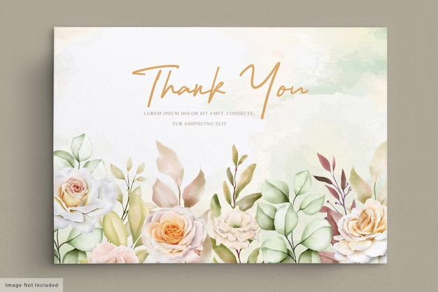 Romantic hand drawn floral wedding thank you card