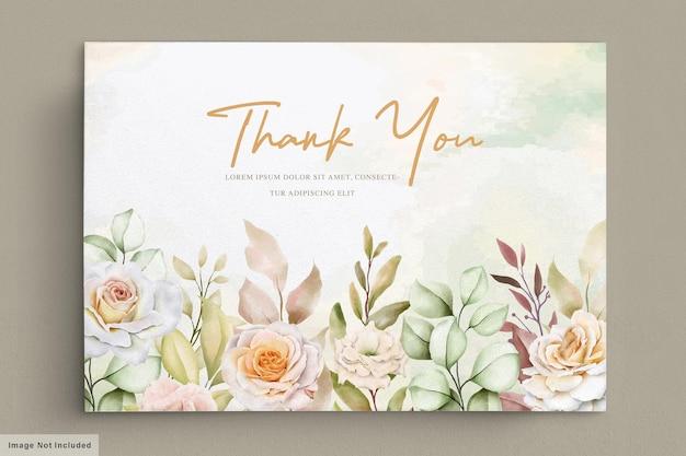Biglietto di ringraziamento per matrimonio floreale disegnato a mano romantico
