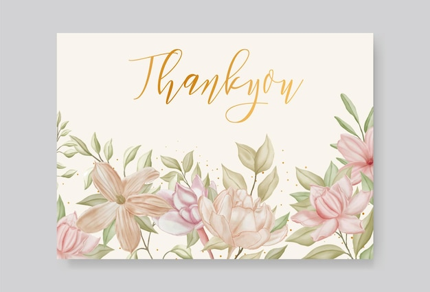 ロマンチックな手描きの花の結婚式のありがとうカード