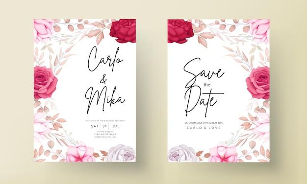 ロマンチックな手描きあずき色の花の結婚式の招待カード