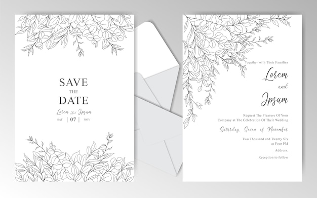 Romantic hand drawn wedding invitation cards template