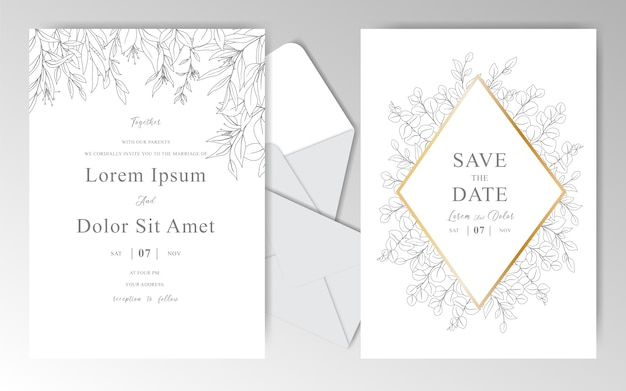 Romantic hand drawn wedding invitation cards template