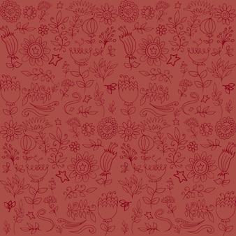 ロマンチックな手描きのパターンの花の背景