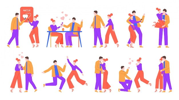 Romantic happy couple. cute boyfriend and girlfriend in love, perfect match dating. celebrating valentine day, kisses, hugs and dancing couples  illustration set