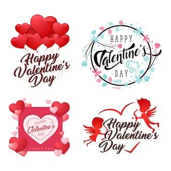 Romantic happy valentine card element illustration set