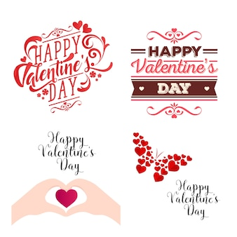 Romantic Happy Valentine Card Element Illustration Set