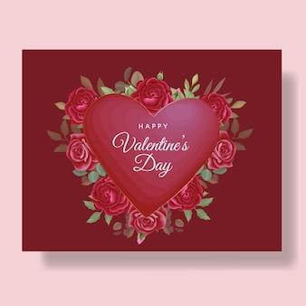 心と赤い花とロマンチックな幸せなバレンタインデーカードの背景