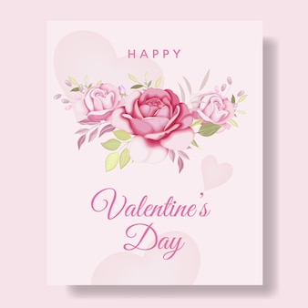 Romantic happy valentine's day card background with hearts and flowers