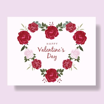 Romantic happy valentine's day card background with hearts and red flowers