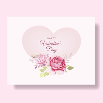 Romantic happy valentine's day card with hearts and flowers
