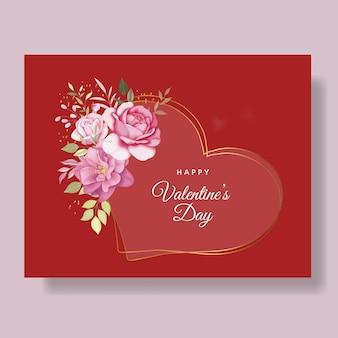 赤いハートと花とロマンチックな幸せなバレンタインデーカード