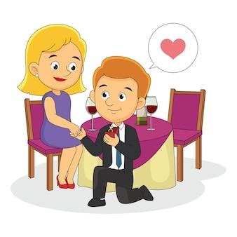 ロマンチックな幸せなバレンタインデーの告白男とガールフレンド