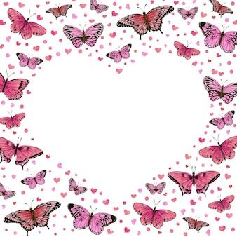 Романтическая рамка в форме сердца с розовыми бабочками и сердечками Premium векторы