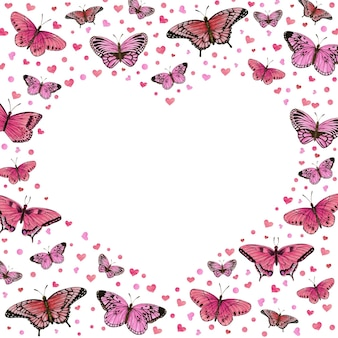 Romantic heart shaped frame with pink butterflies and hearts