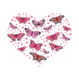 ピンクの蝶とハートのロマンチックなハート型イラスト