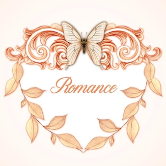 Romantic heart shaped victorian frame with pastel leaves and butterfly