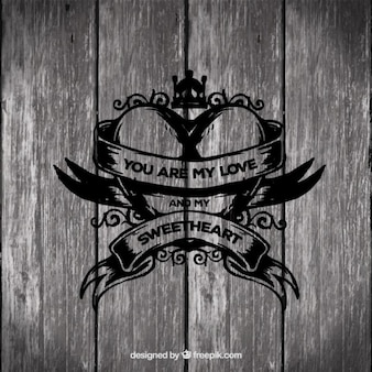 Romantic heart on wood