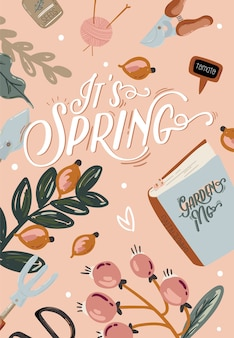 Романтический набор hello spring с нарисованными вручную элементами сада, инструментами и романтическими надписями