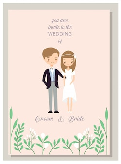 Romantic hipster couple in wedding invitations card