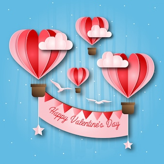 Romantic hot air balloon paper art happy valentine card illustration