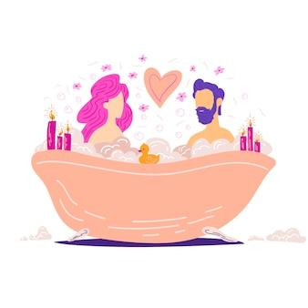 浴室のカップルとロマンチックなイラストバスタブのロマンチックなコンセプトの男性と女性