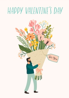 Romantic illustration with cute man and flowers.