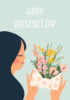 귀여운 여자와 낭만적 인 그림입니다. 발렌타인 데이 rs를위한 디자인.