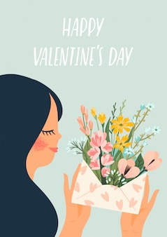 Romantic illustration with cute woman.  design  for valentines day rs.
